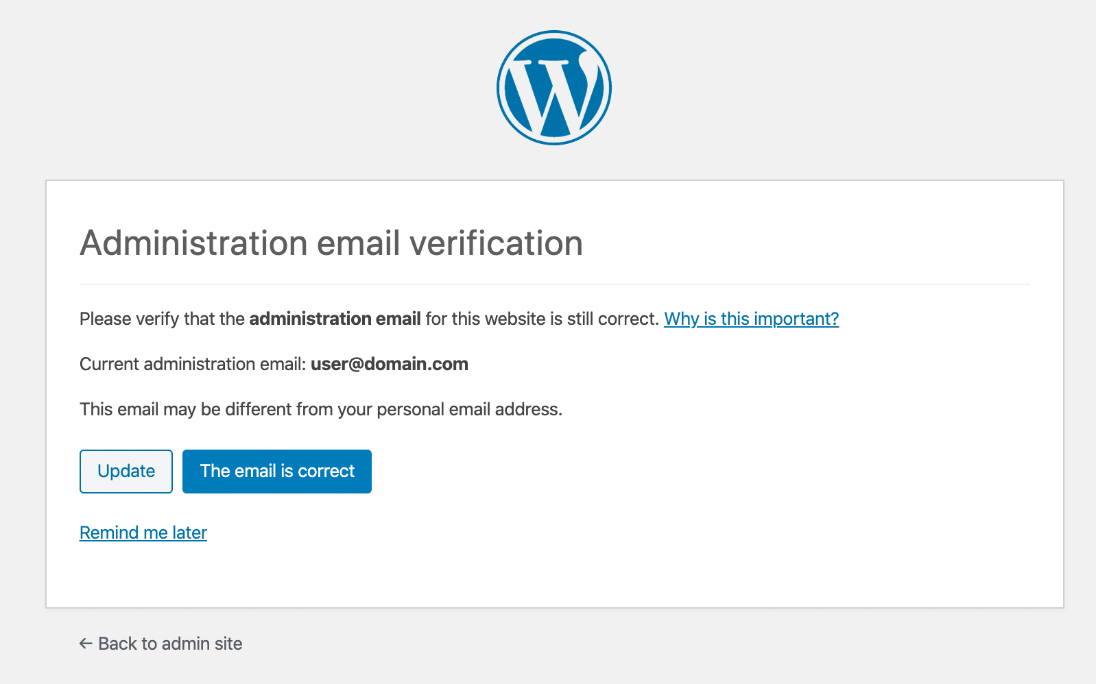 WordPress admin email verification