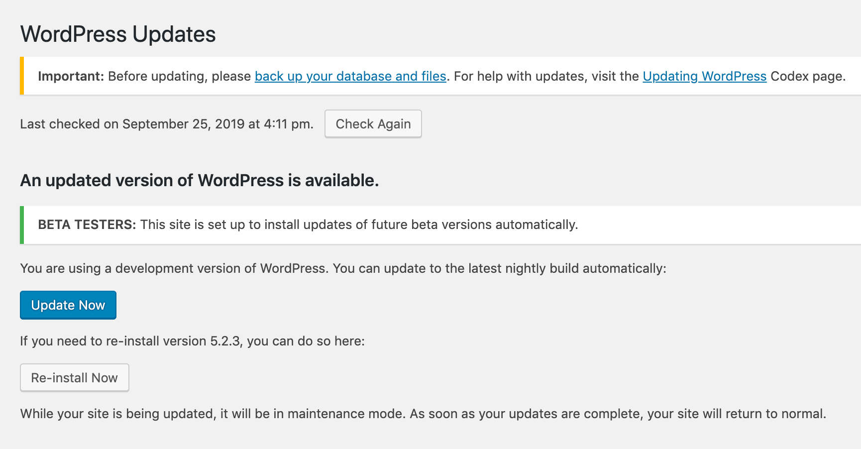 WordPress Updates screen
