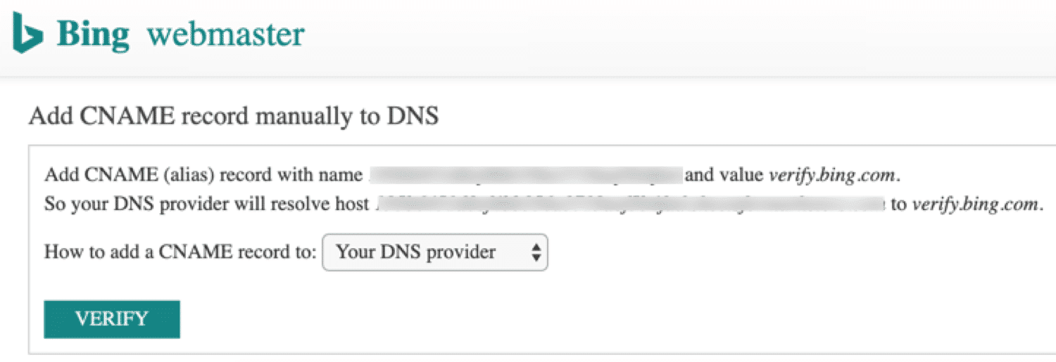 Verify Bing via DNS