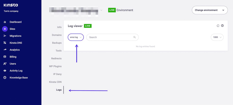 MyKinsta logs tab