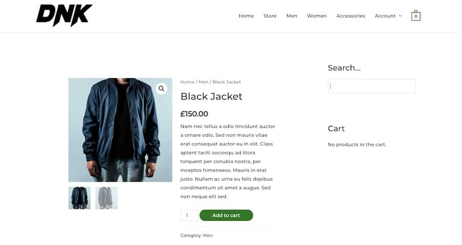 An example of what the search form looks like when embedded with Advanced Woo Search plugin.