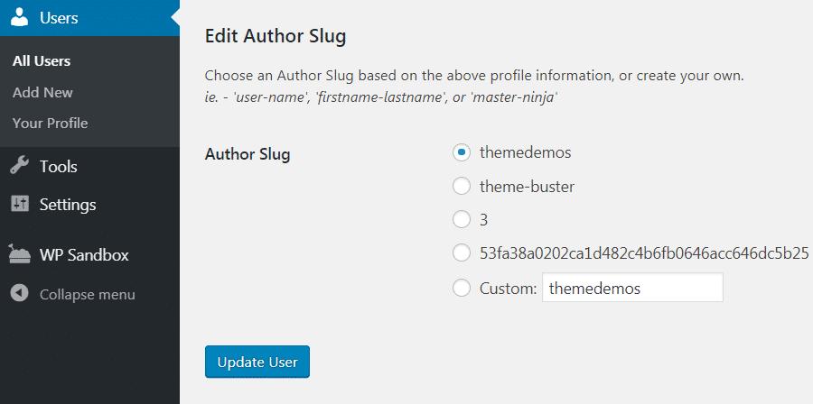 Author slug settings page