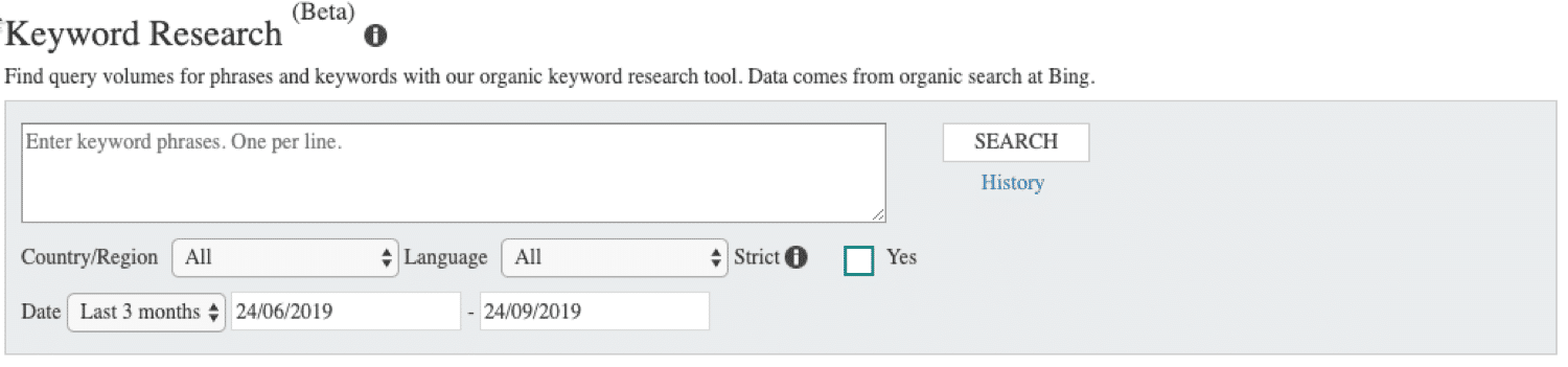 Doing keyword research in Bing Webmaster Tools