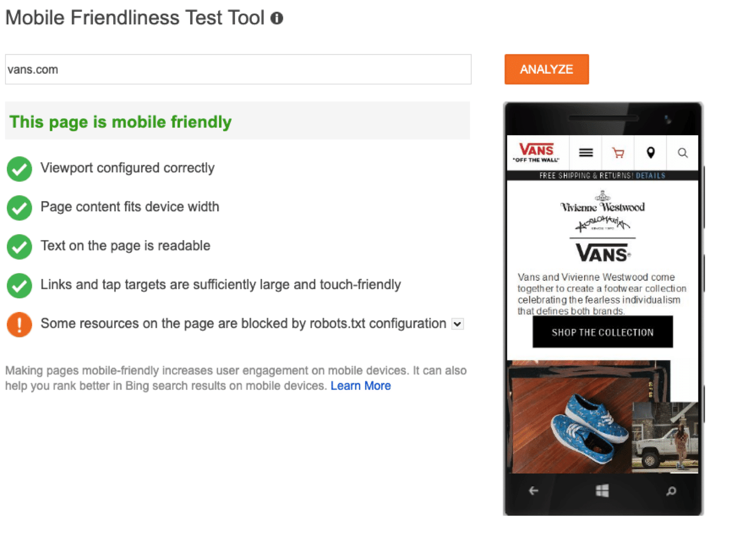 Bing's mobile friendliness test tool