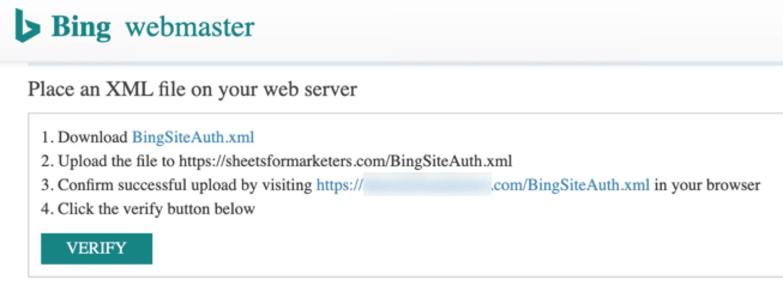 Verifikasi file Bing XML