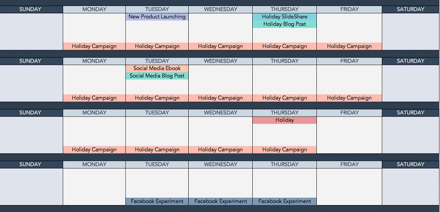 Calendario de medios sociales de HubSpot