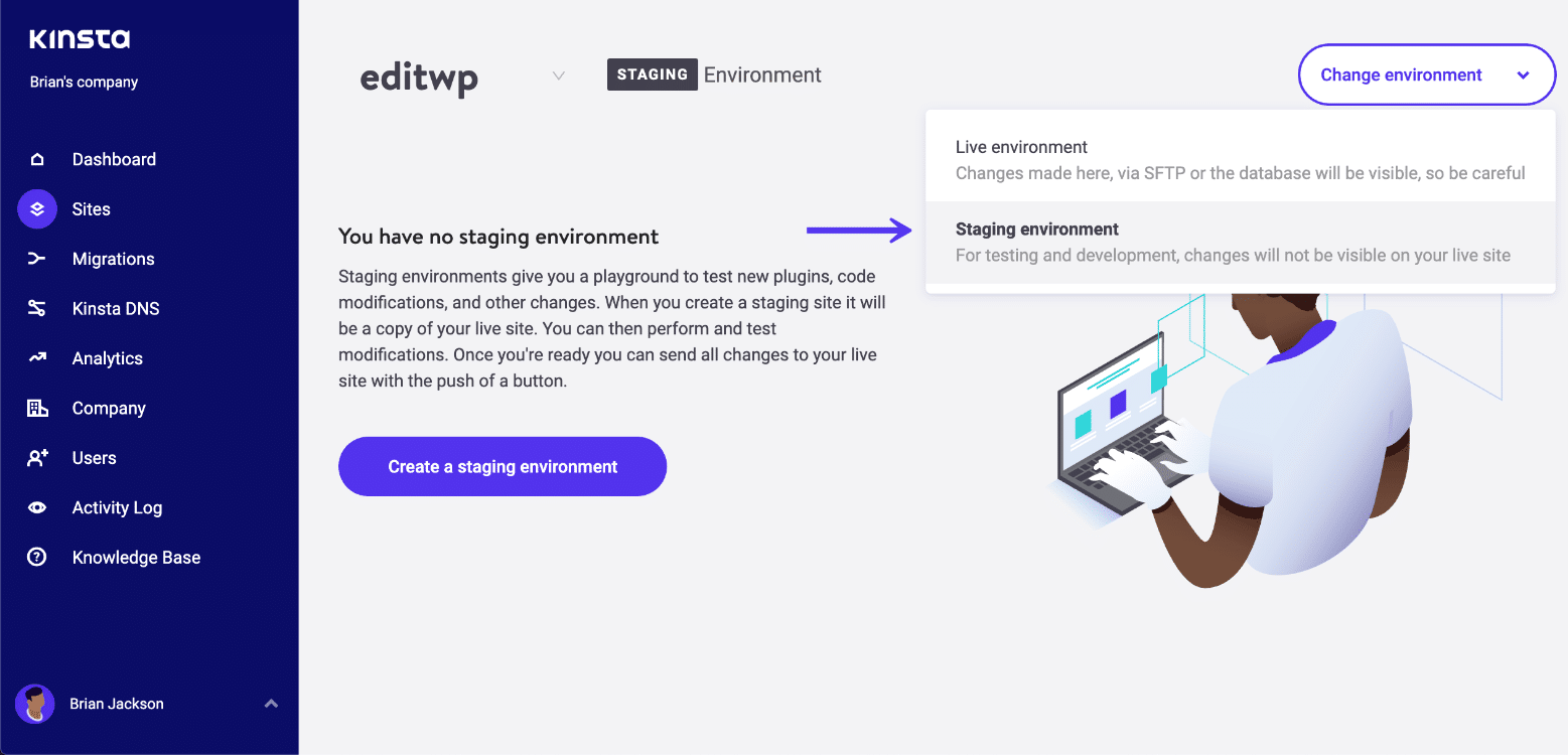 Create WordPress staging environment