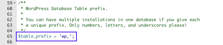 Database prefix