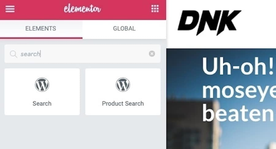 Where to find the WordPress search widget in your Elementor plugin.