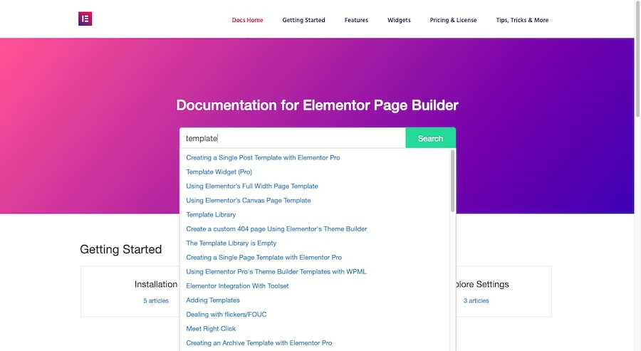 """An example of how to use Elementor to search for """"template"""" and the autopopulated results the search form displays."""