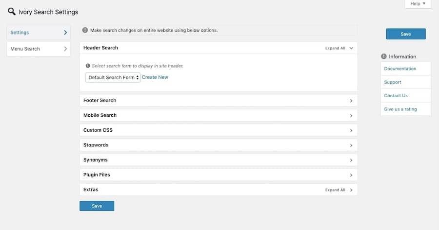 The Ivory Search plugin gives users more options for content and data to search through.