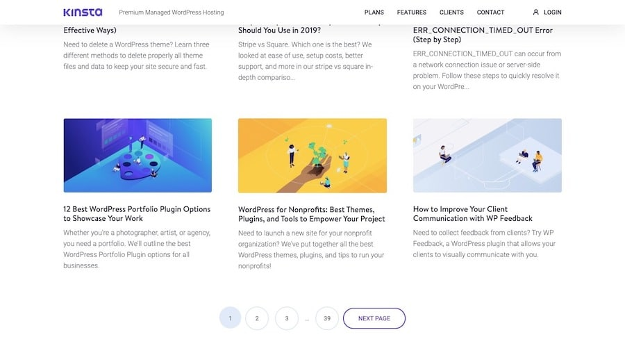 An example of recent posts published to the Kinsta blog and the pagination revealing 39 pages of posts available to read.
