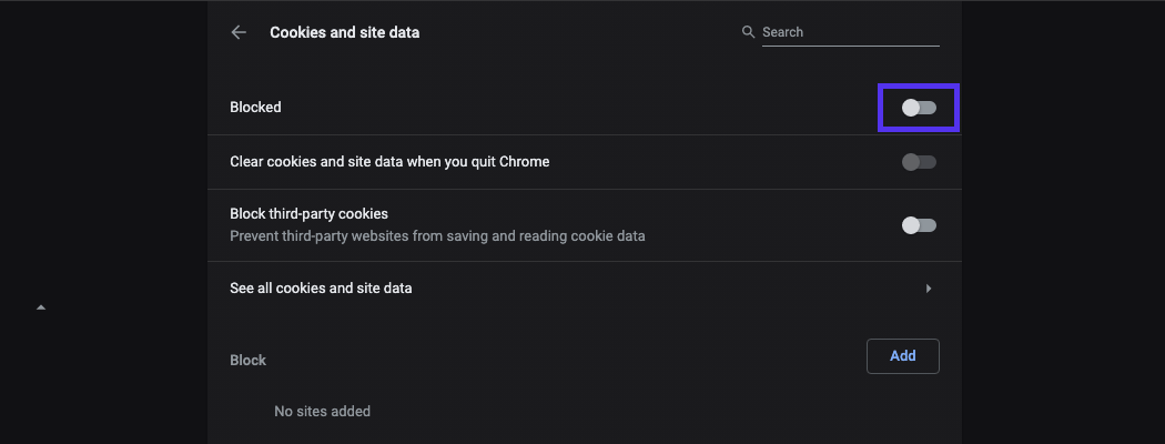 Chrome cookies and site data options