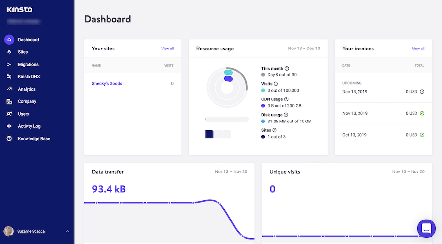 MyKinsta managed hosting dashboard