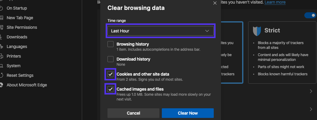 Clear browsing data pop-up