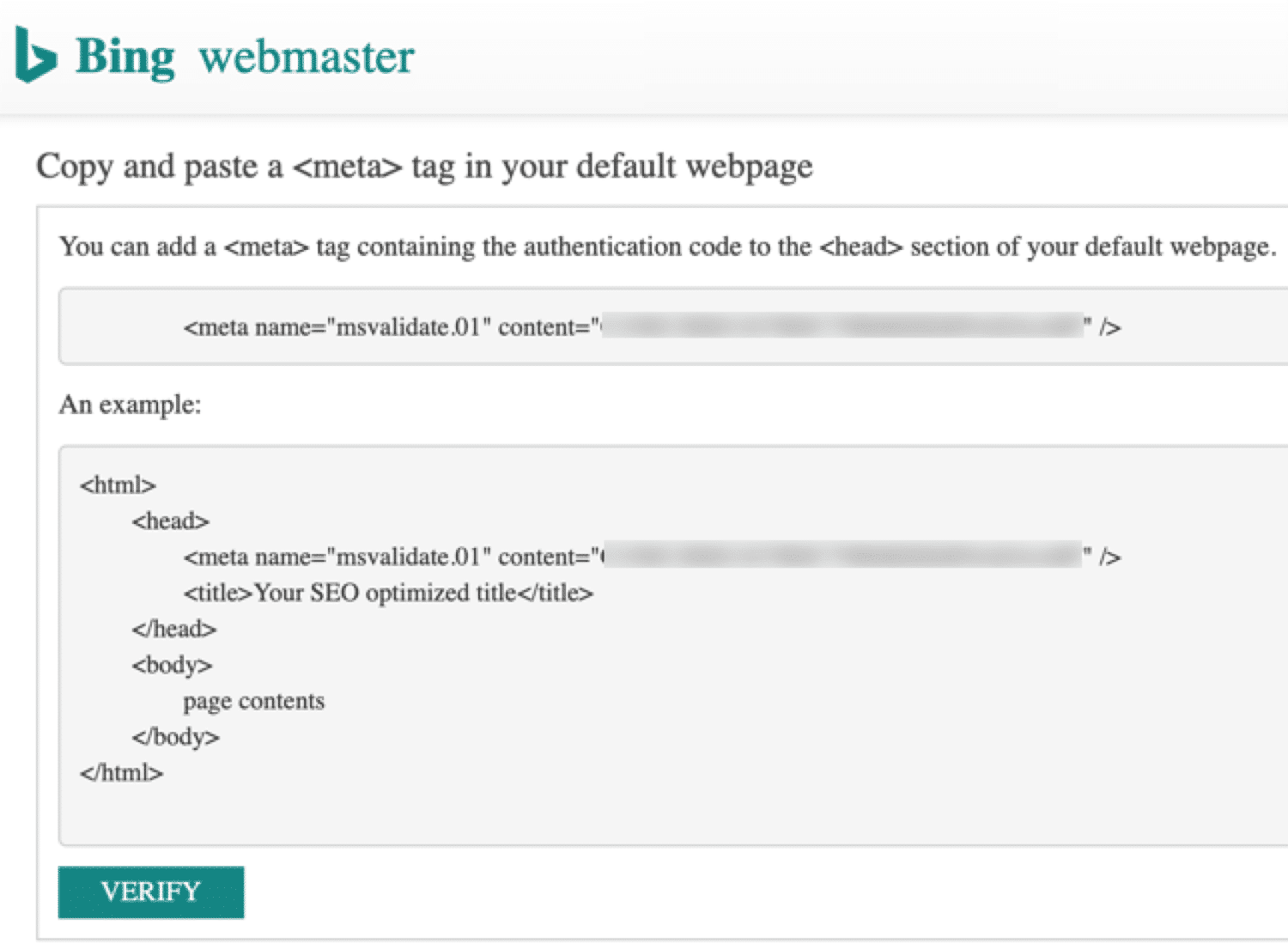 Meta tag to verify Bing Webmaster Tools
