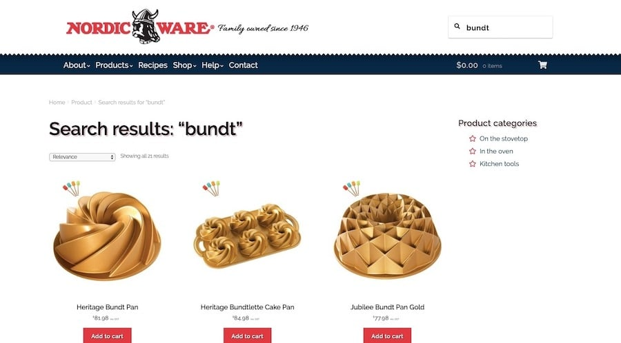 "A search for ""bundt"" on the Nordic Ware website reveals a number of results that match the query."