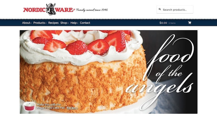 The Nordic Ware ecommerce and recipe site uses a product search bar in its header.