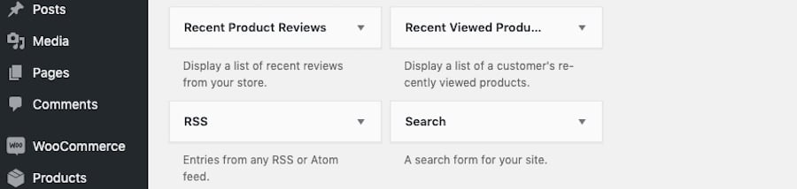 Where to find the Search widget in WordPress.