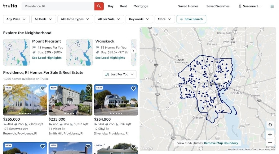 """An example of a search results page for """"Providence, RI"""" homes for sale on the Trulia site."""