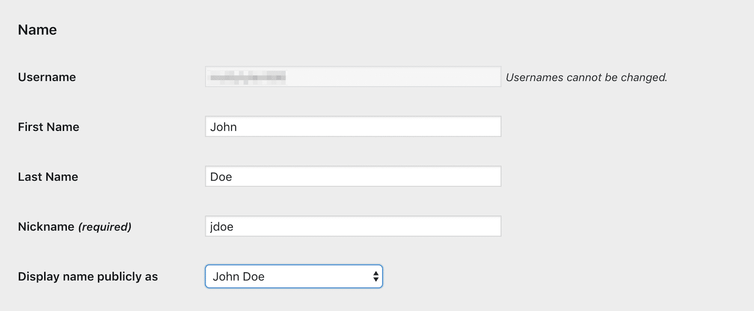 A user's account settings page