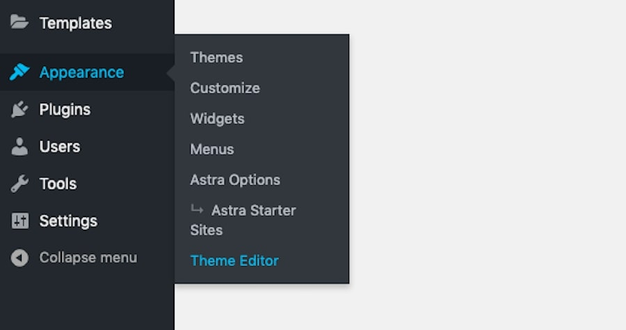 How to access the Theme Editor in WordPress.