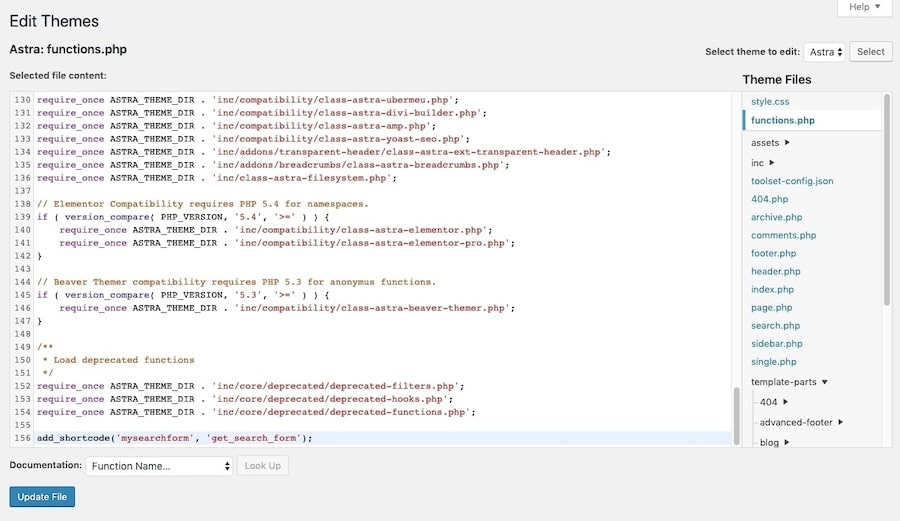 Open the functions.php file from the WordPress theme editor.