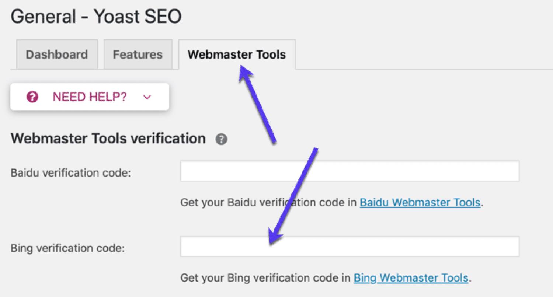 Penyiapan Alat Bing Webmaster SEO Yoast
