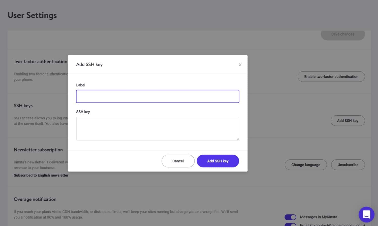 Adding SSH key in MyKinsta