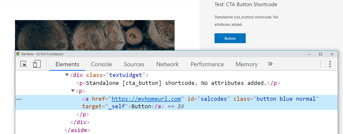 Showing the CTA Button's HTML Output with Chrome's Developer Tools
