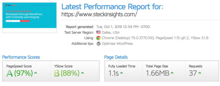 Steckinsights.com after moving to Kinsta