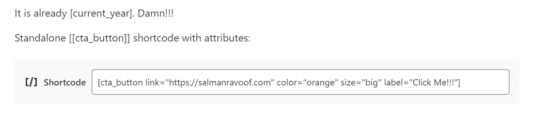 Adding the CTA Button shortcode with attributes to a post