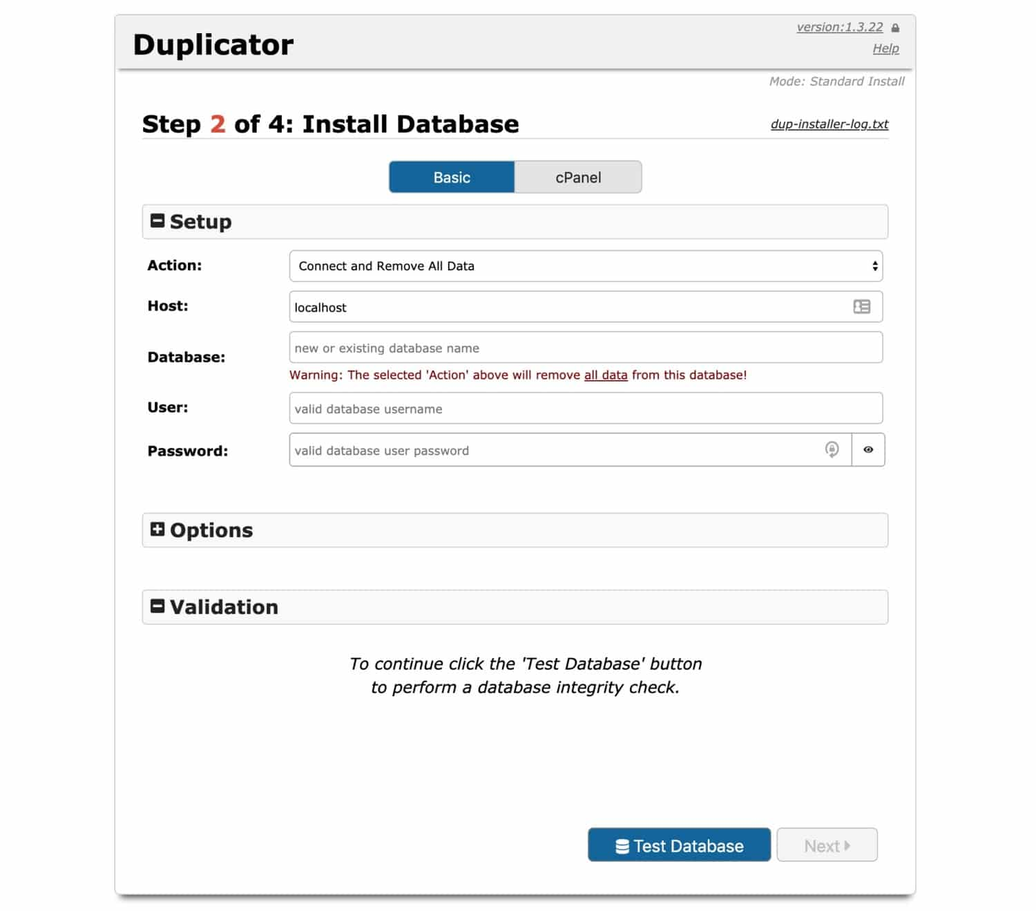 Creating the database in duplicator