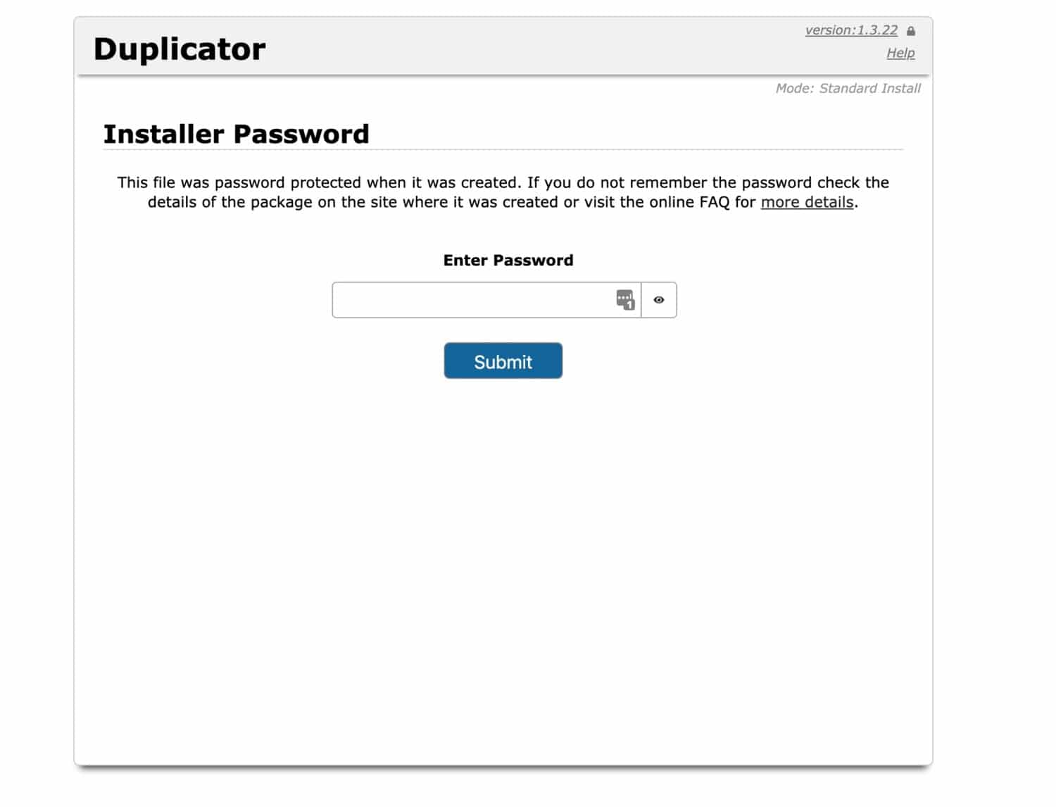 Duplicator password prompt