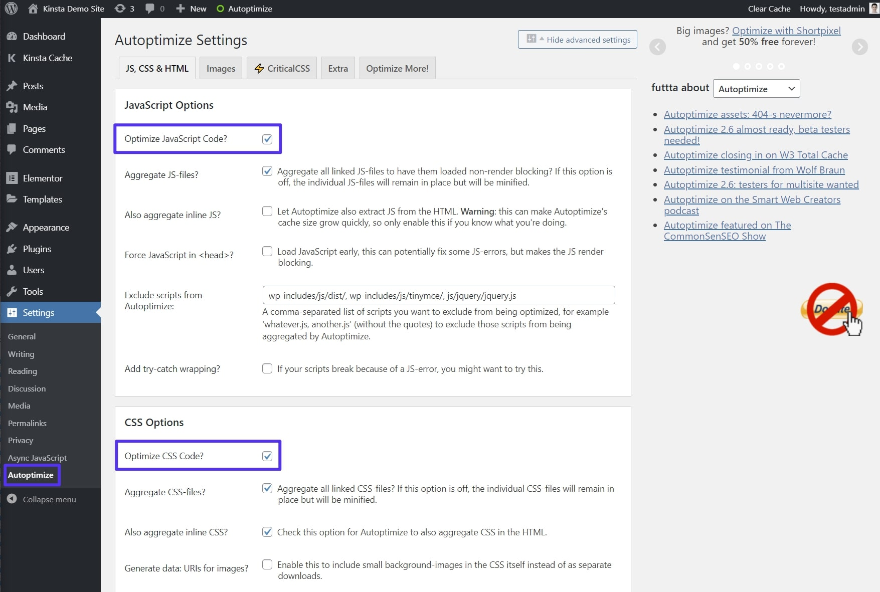 How to configure Autoptimize plugin