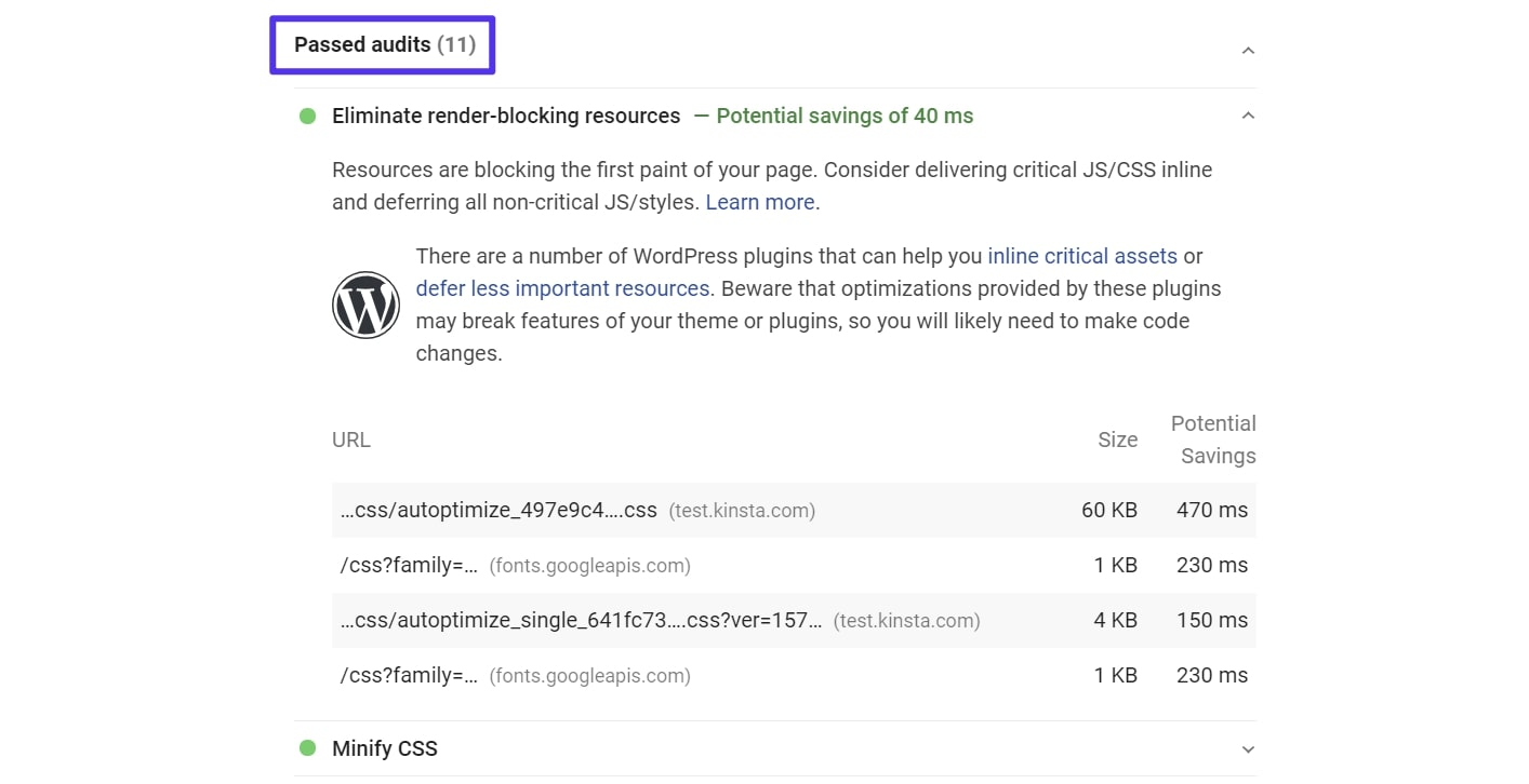 PageSpeed Insights results w/ Autoptimize and Async JavaScript