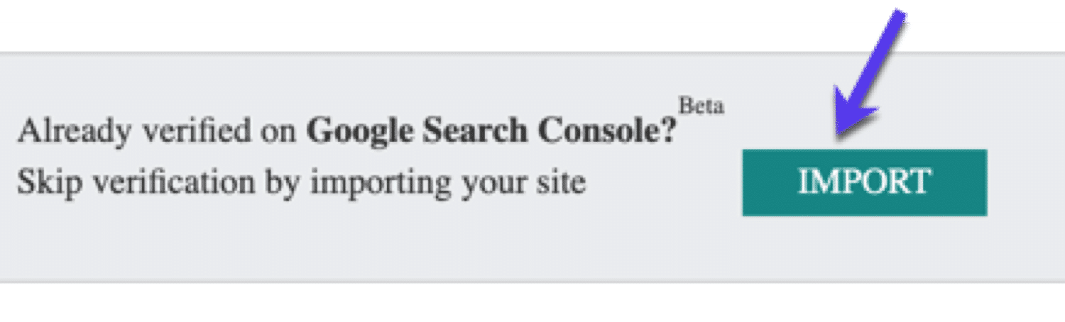 Import Search Console settings into Bing
