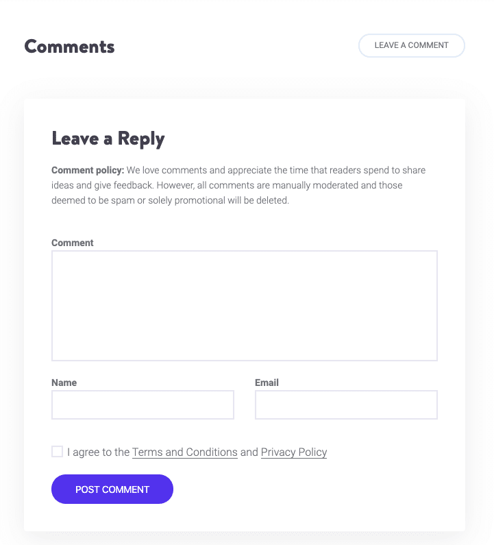 Comments form on Kinsta