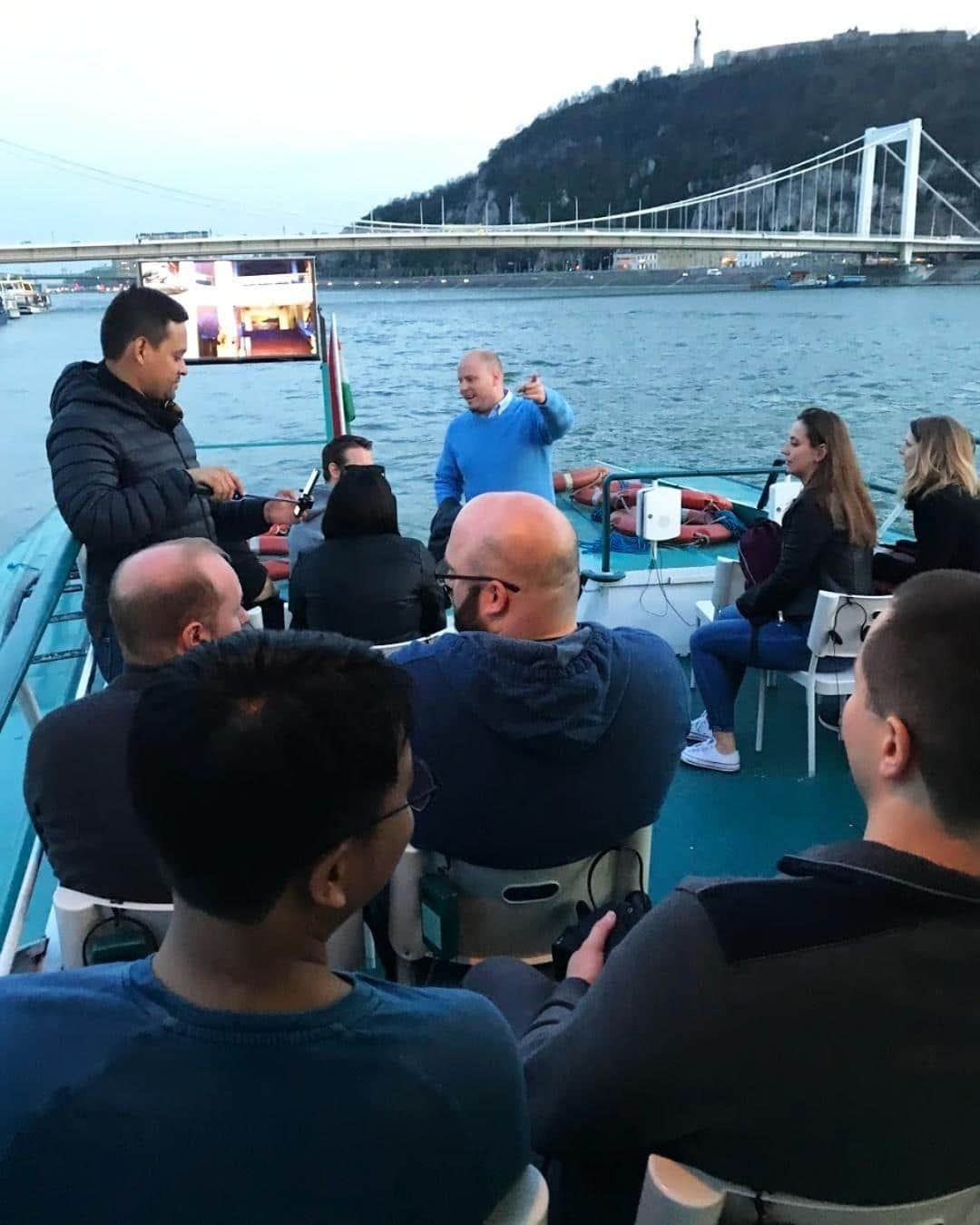Kinsta team on Danube river