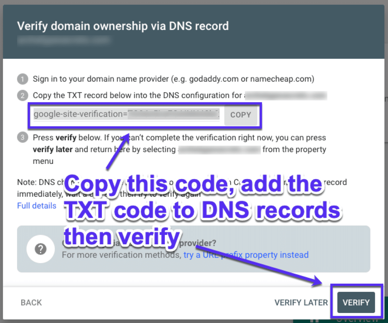 How to verify domain ownership using DNS records