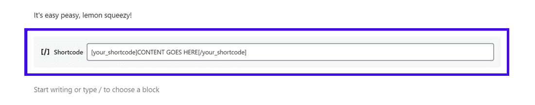 How Gutenberg's standalone Shortcode Block looks