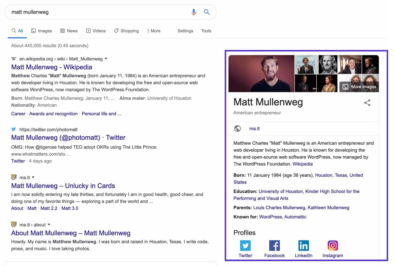 Matt Mullenweg knowledge panel