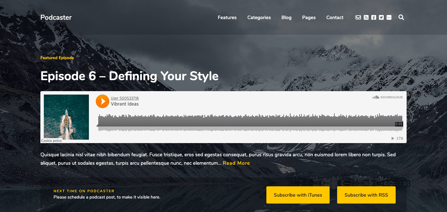 Podcaster WordPress theme