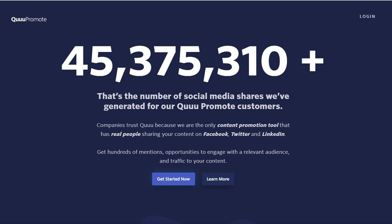 SaaS products: Quuu Promote