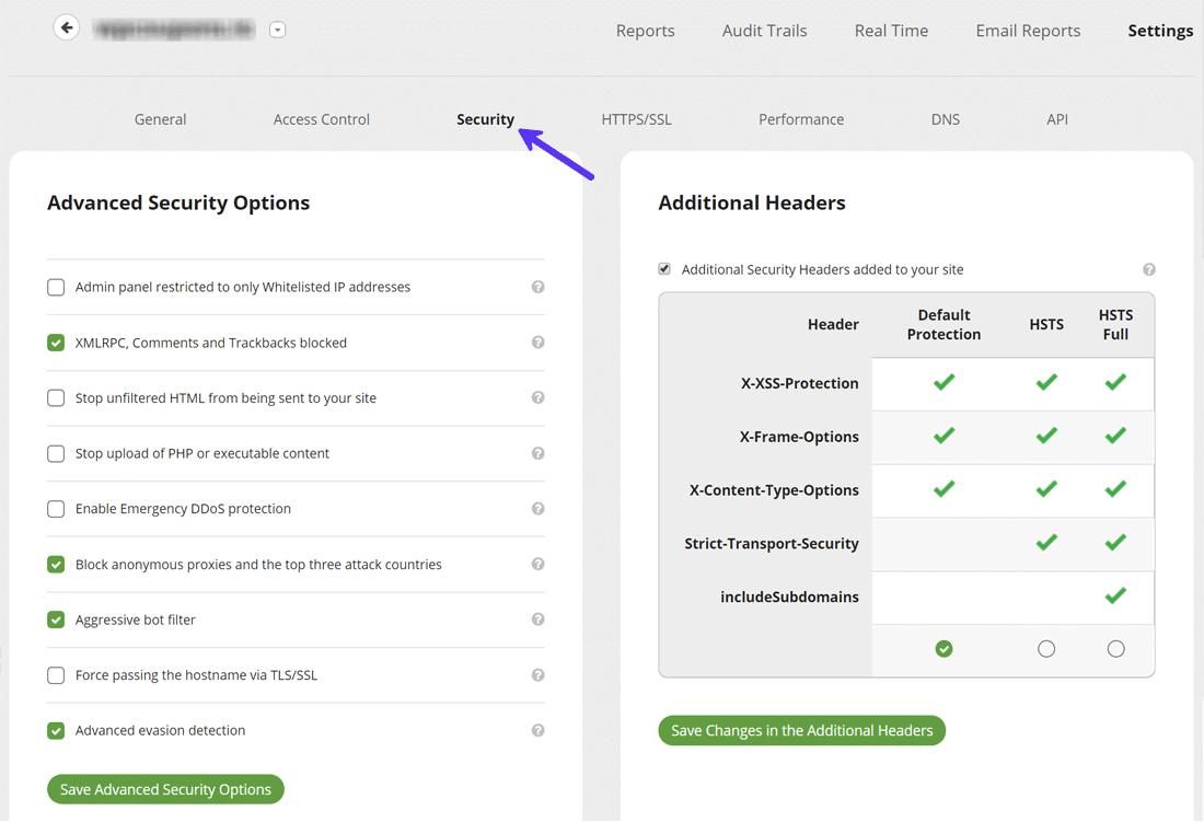 Sucuri Cloud Firewall WAF security settings panel