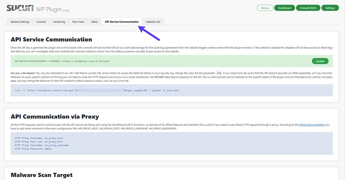 Sucuri Security API Service Communication settings panel