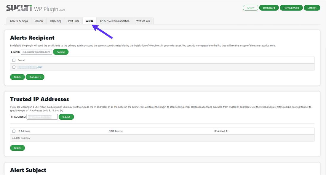 Sucuri Security Alerts settings panel