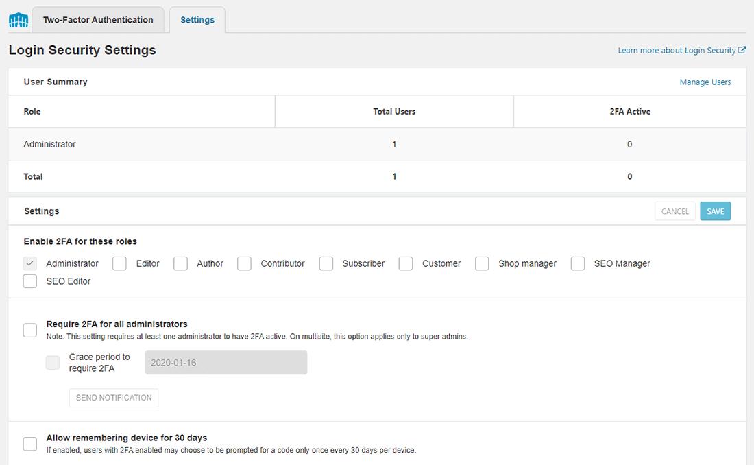 Wordfence Login Security Settings tab