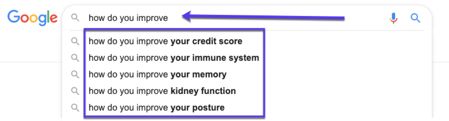 Using Google autocomplete for keyword research