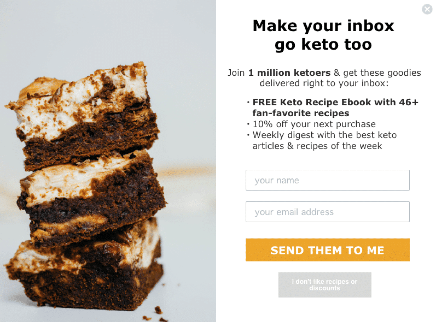 Content upgrade example by Perfect Keto